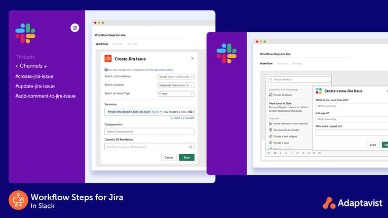 Setting up a create Jira issue workflow in Slack and using the workflow.