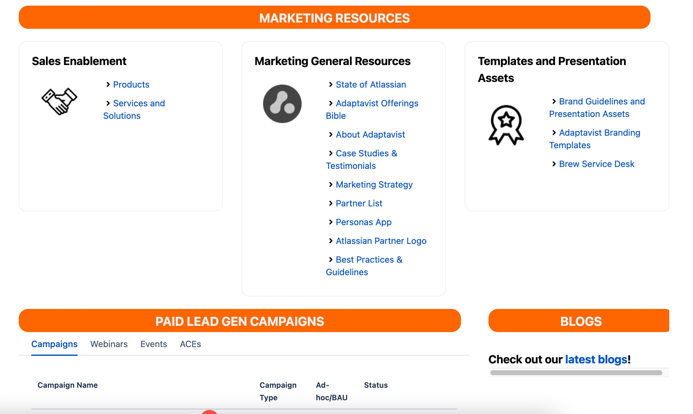 Internet screenshot of a Confluence page with orange title dividers and blue hyperlinks