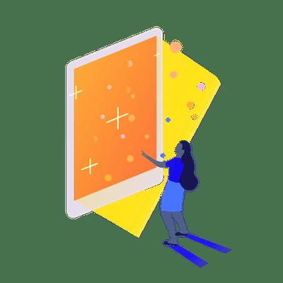 Girl looking at large orange tablet screen