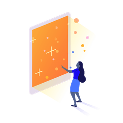 Blue woman in front of large orange screen