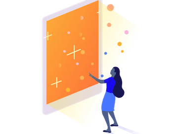 Woman interacting with large orange screen