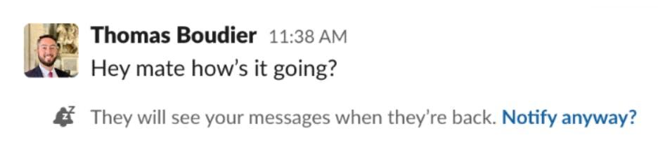 Slack notifications set to snooze