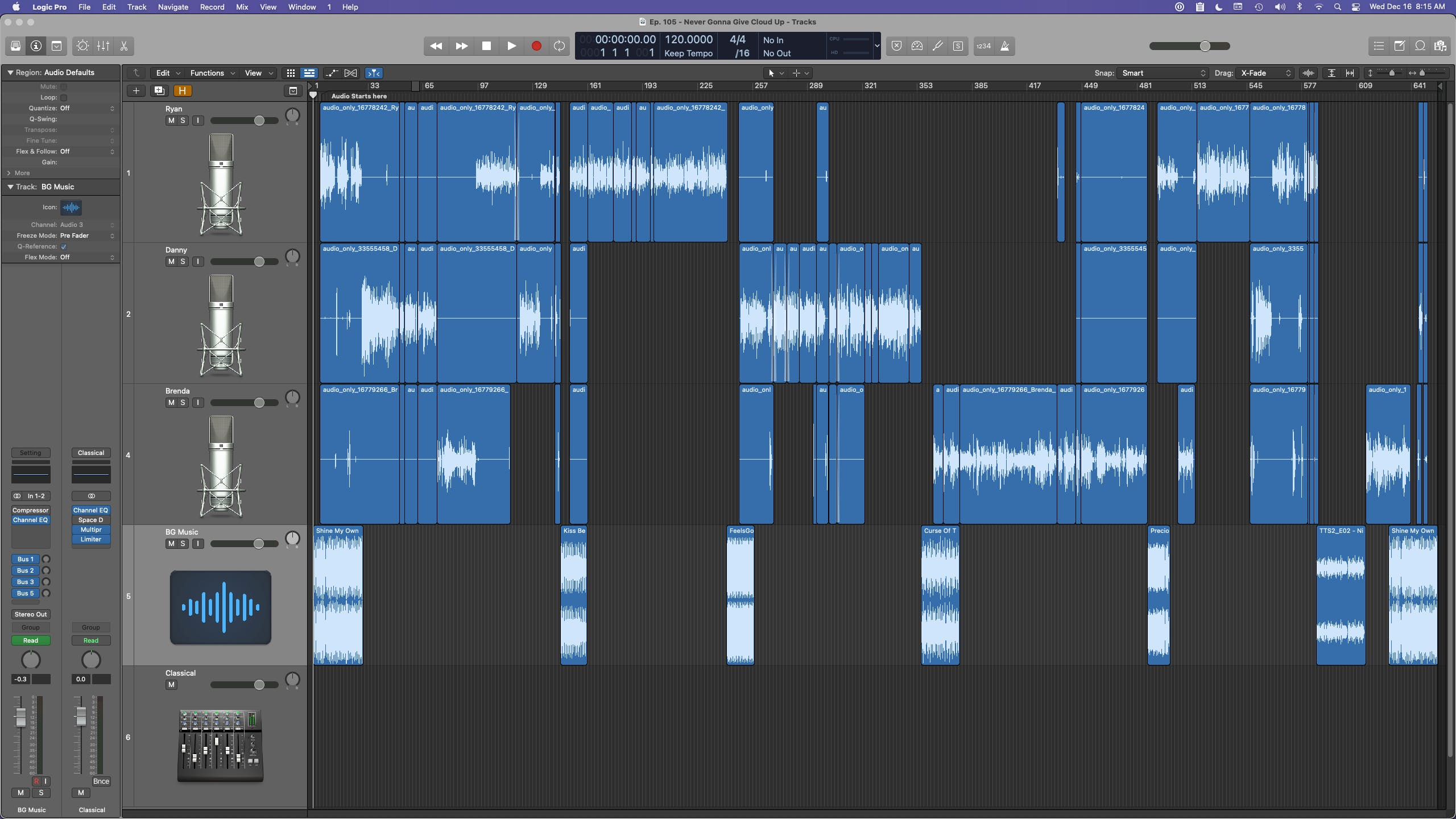 This is what Episode 105 looks like in Logic Pro X.