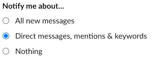 Slack notifications preferences