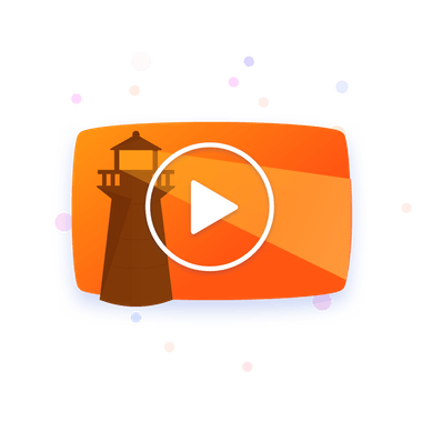 Orange background with dark lighthouse and white play icon