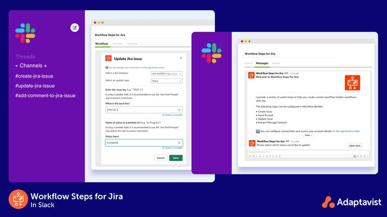 Setting up an update Jira issue workflow in Slack and using the workflow.