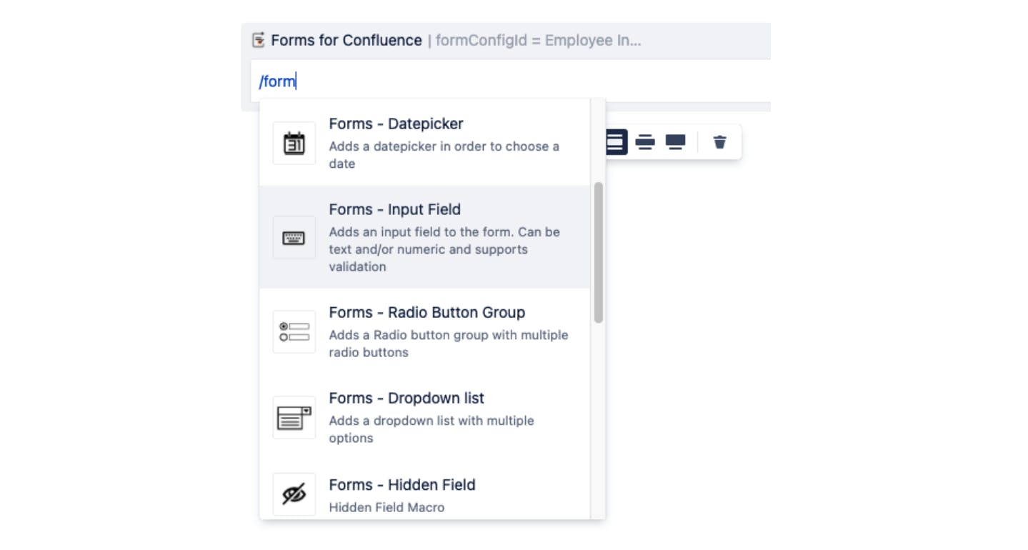 Screenshot showing how to use Forms for Confluence macro