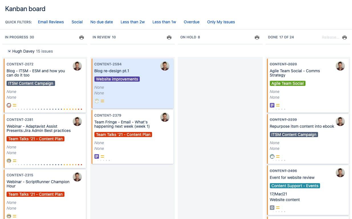 Content Team's Kanban Board