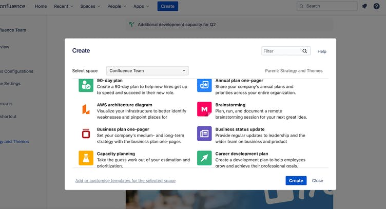 Confluence screen with 'Create template' popup