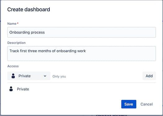 Screenshot of 'create dashboard' screen in Jira Cloud