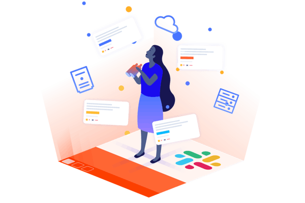 Illustration of a figure looking through slack for information