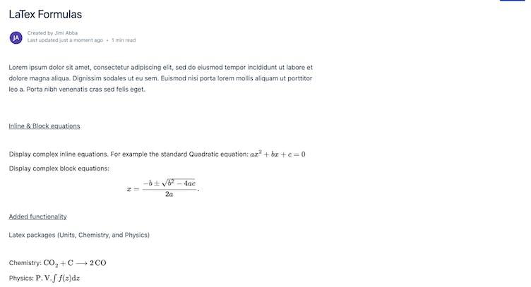 Mathematics formulas on a Confluence page