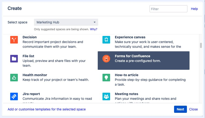 Screenshot of Confluence template library