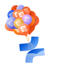 Illustration of product logo balloons