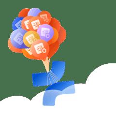 Illustration of product logo balloons