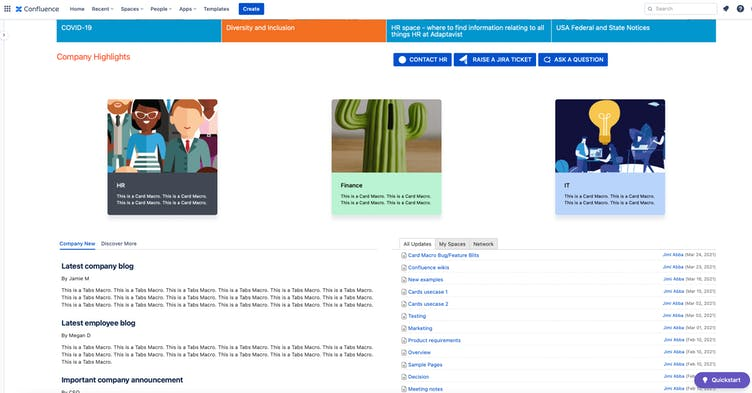 Screenshot of company wiki in Confluence