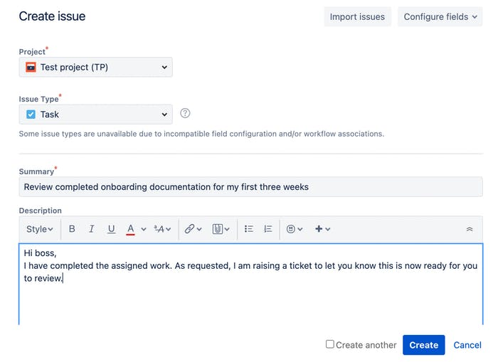 Jira issue created with text