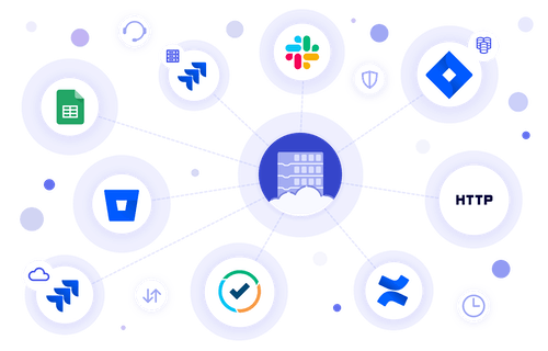 Enterprise surrounded by business systems that need to be integrated by AutoBlocks