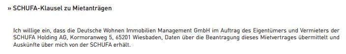 Schufa-Klausel zu Mietanträgen: Ich willige ein, dass der Vermieter im Auftrag des Vermieters der Schufa Holding AG Daten über die Beantragung des Mietverages übermittel und Auskünfte über mich von der Schufa erhält