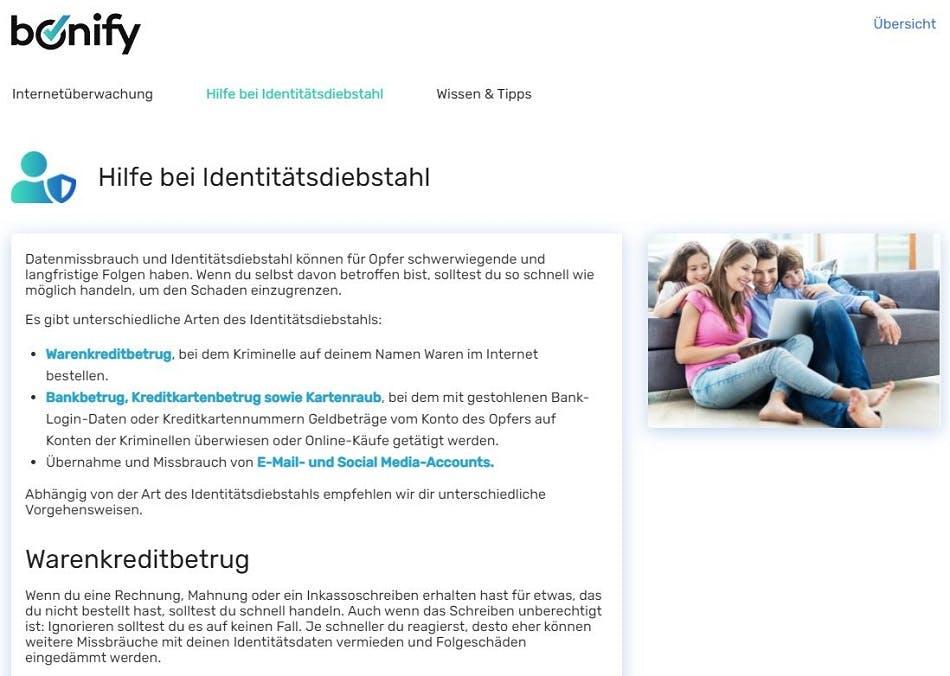 Screenshot | bonify IdentProtect-Portal Übersicht Hilfe bei Identitätsdiebstahl