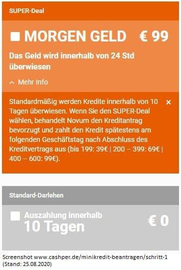 Screenshot Cashper - Gebühren SUPER-Deal (Expressauszahlung) - Stand 25.08.2020