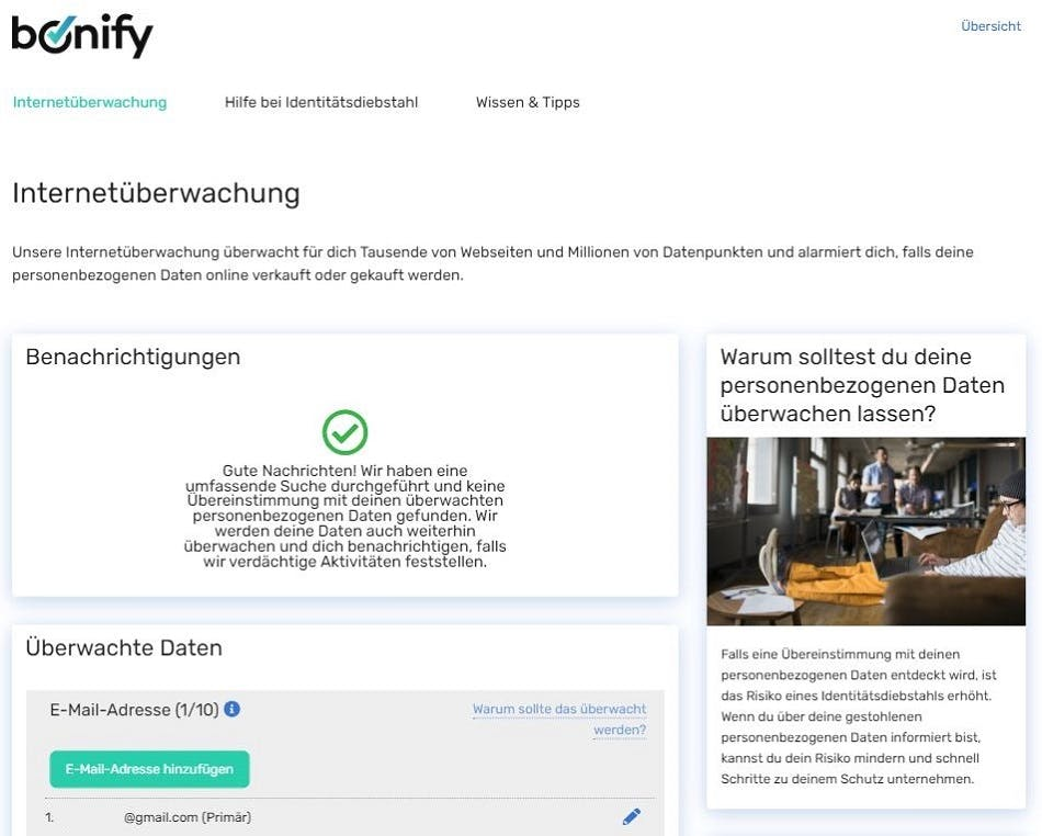 Screenshot | bonify IdentProtect-Portal Übersicht Internetüberwachung