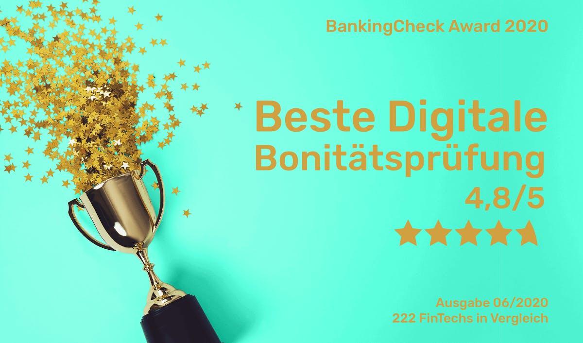 bonify ist Beste Digitale Bonitätsprüfung - BankingCheck Award 2020
