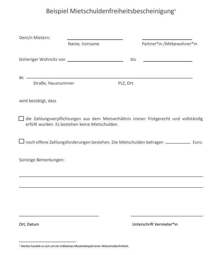 Mietschuldenfreiheitsbescheinigung - Muster / Vorlage