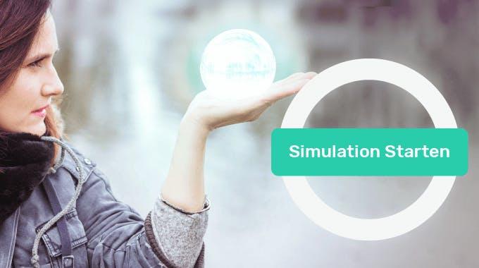 Junge Frau schaut in Glaskugel, bonify Scrore Simulator Konzept