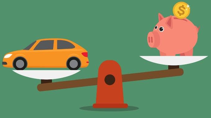 Auto und Sparschwein auf Waage