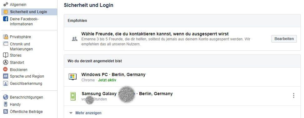 Sicherheits- und Login-Einstellungen bei Facebook