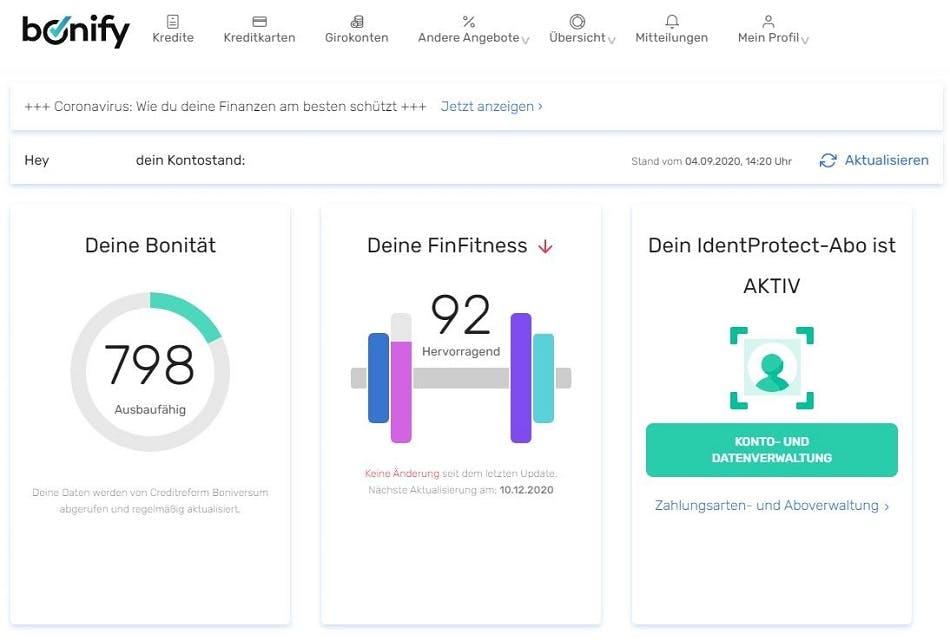 Screenshot | bonify-Nutzerkonto mit aktiviertem bonify IdentProtect-Abo