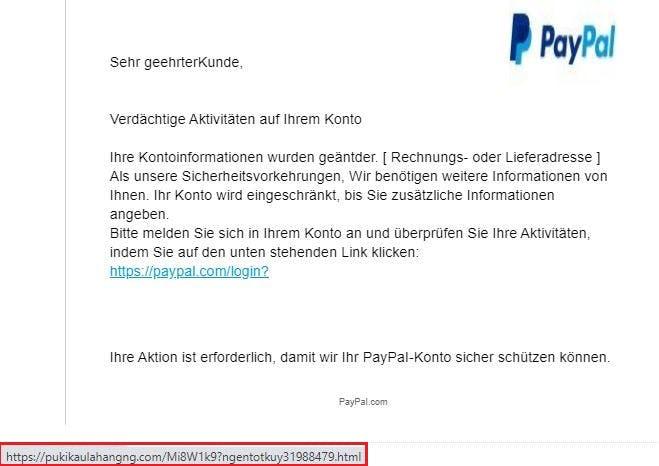 Beispiel einer PayPal-Phishing-Mail mit manipuliertem Link