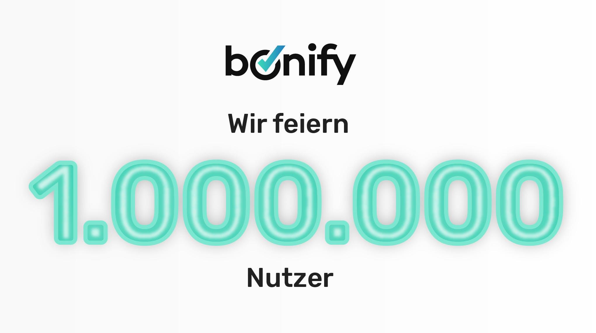 bonify feiert 1 Million Nutzer - Titel