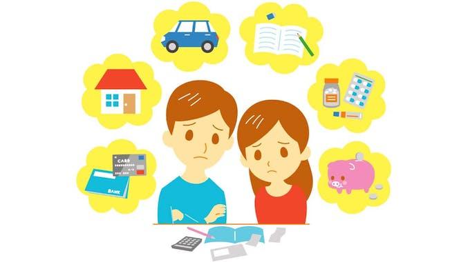 Frau und Mann machen sich Sorgen wegen Schulden