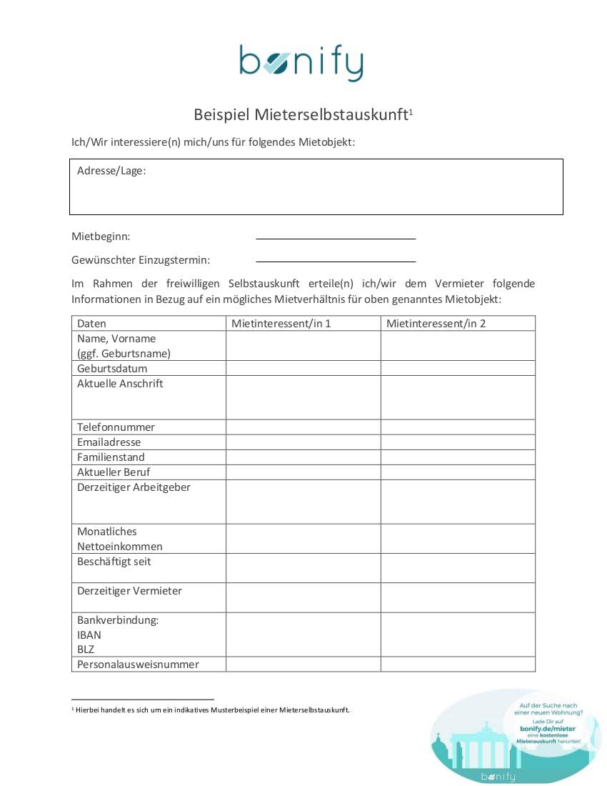 Selbstauskunft PDF