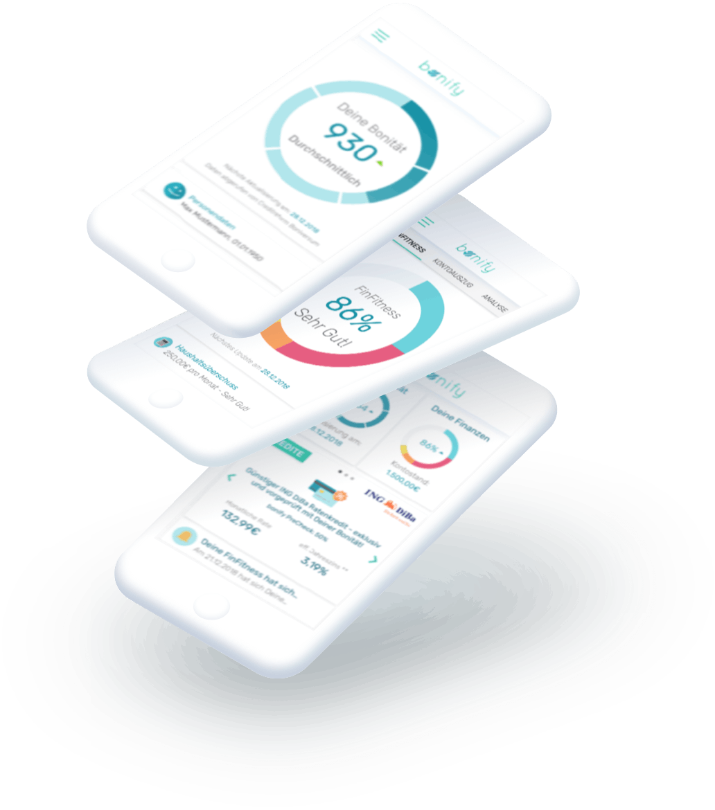 bonify: 3 Grouped phones with bonify dashboard