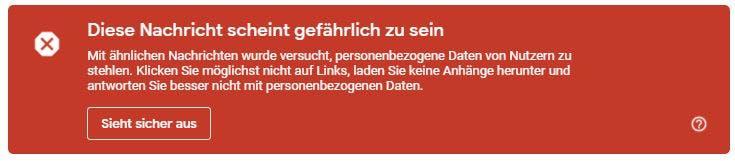 Sicherheitswarnung von gmail.com bei einer Phishing-Mail - Screenshot