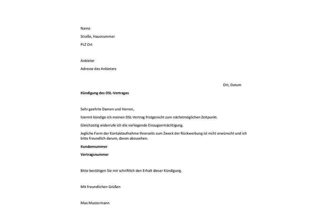 Muster-Kündigung für DSL-Verträge