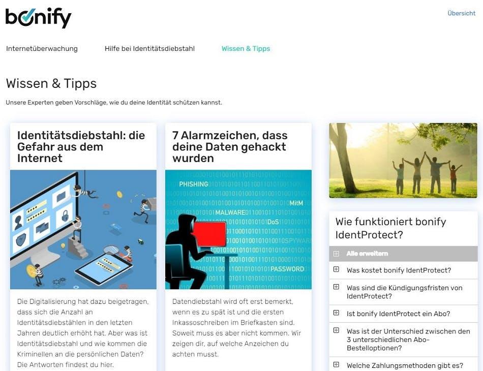 Screenshot | bonify IdentProtect-Portal Übersicht Wissen & Tipps
