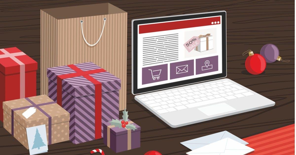 Weihnachtsgeschenke mit Laptop
