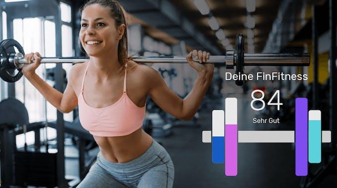 junge Frau mit Gewicht, bonify FinFitness Konzept