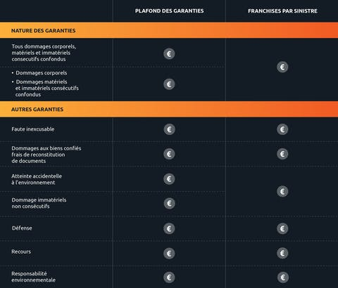 Exemple de tableau de garanties