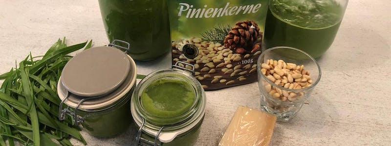 Bärlauch-Pesto-Rezept-zubereitet-proteinreich Brotaufstrich Dipp