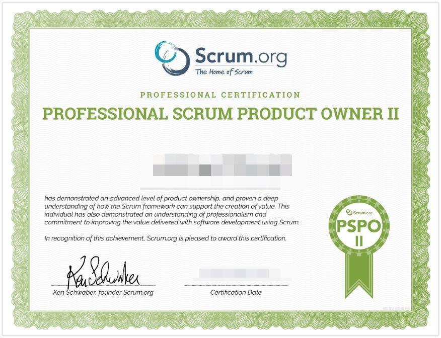 PSPO II Certificate - Professional Scrum Product Owner II