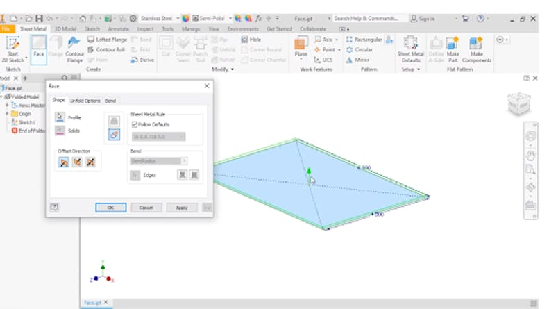 Sheet Metal Face Feature in Autodesk Inventor
