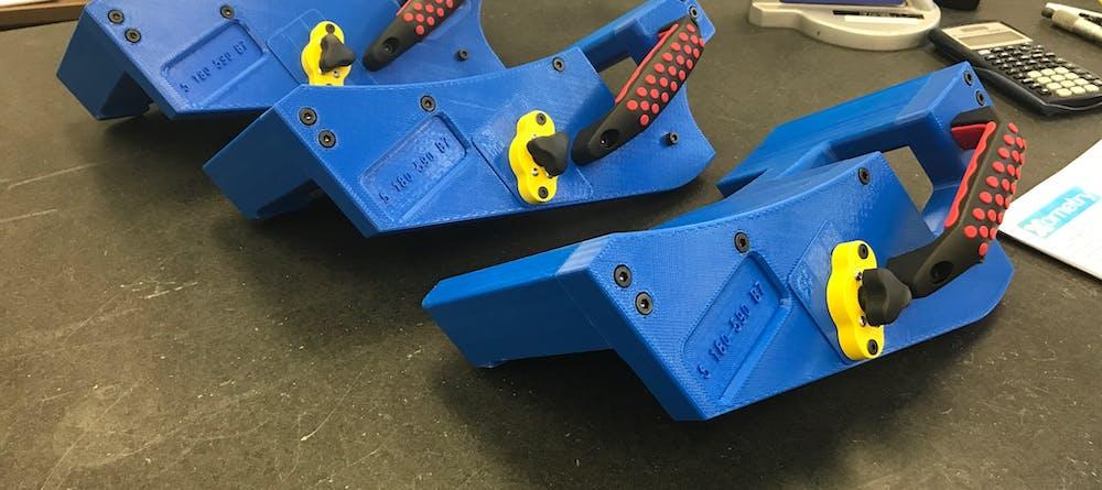 FDM 3D printed ABS-M30 blue jigs for BMW