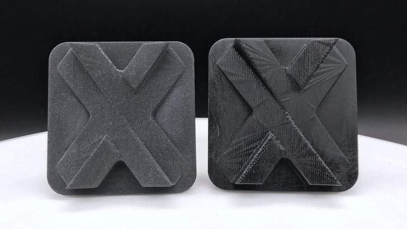 On left, Somos WaterShed Black with the Standard matte finish. On right, Somos WaterShed Black in the Natural finish.