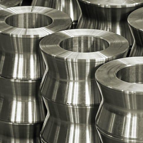 circular CNC parts in a row
