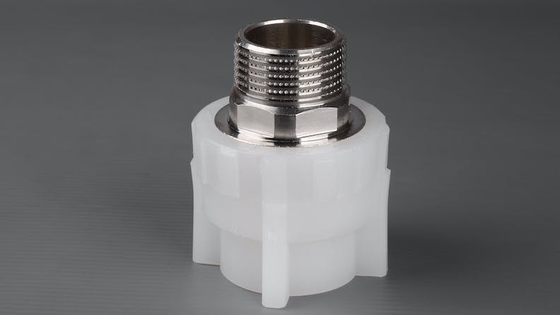 A insert molded threaded insert